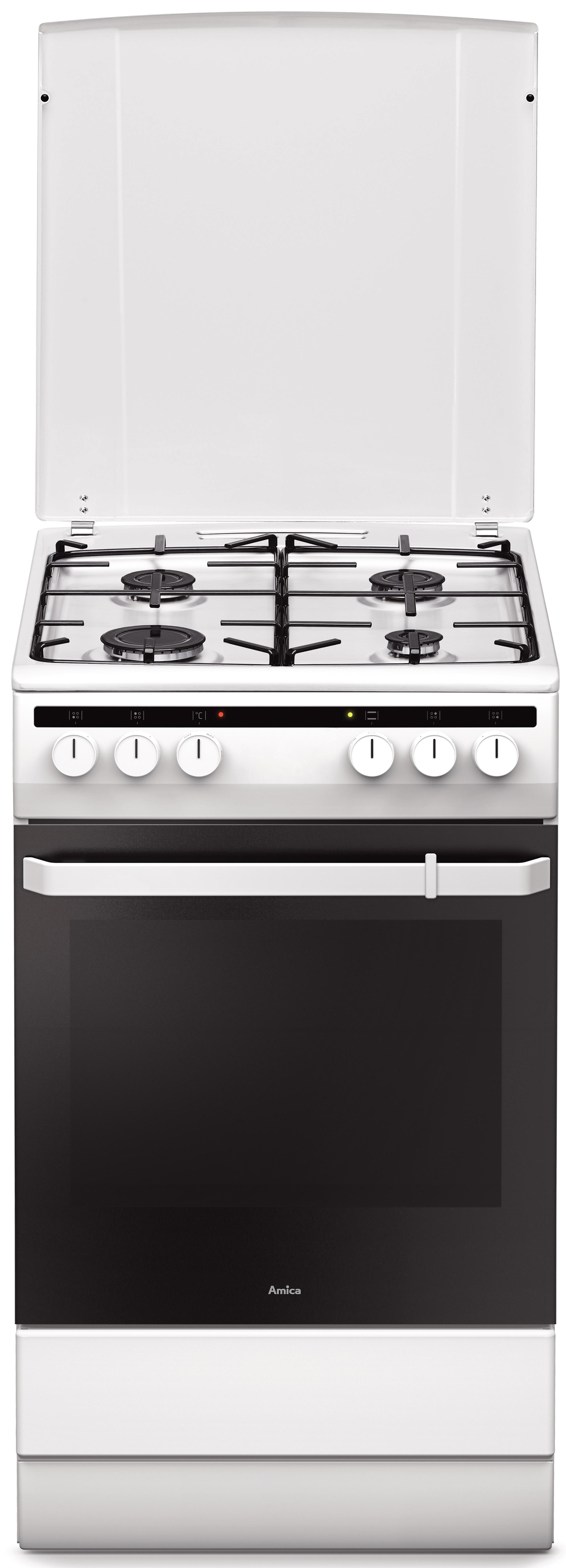 Amica 54000/55343 Fehér kombinált tűzhely, 50 cm, légkeverés