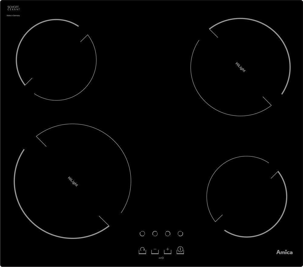 Amica VH6040 (23334)  beépíthető kerámia főzőlap, 4 főzőzóna, Fekete